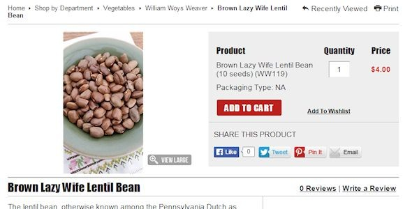 Brown Lazy Wife Lentil Bean