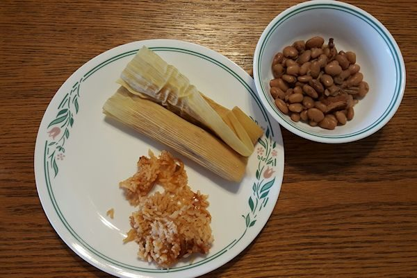 Tamales, Rice and Beans